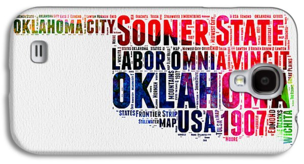 4th Of July Mixed Media Galaxy S4 Cases - Oklahoma Watercolor Word Cloud  Galaxy S4 Case by Naxart Studio