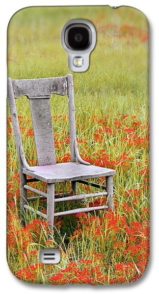 Chair Galaxy S4 Cases - Old Chair in Wildflowers Galaxy S4 Case by Jill Battaglia