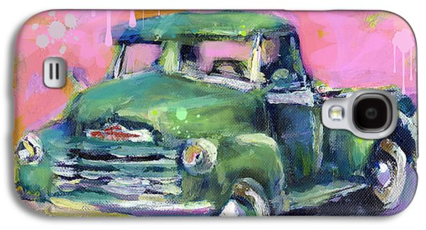 Landscape Acrylic Prints Galaxy S4 Cases - Old CHEVY Chevrolet Pickup Truck on a street Galaxy S4 Case by Svetlana Novikova