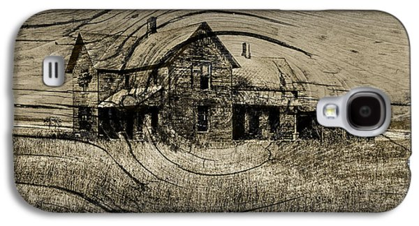 Selenium Galaxy S4 Cases - Old Farm House with Wood Grain Overlay Galaxy S4 Case by Randall Nyhof