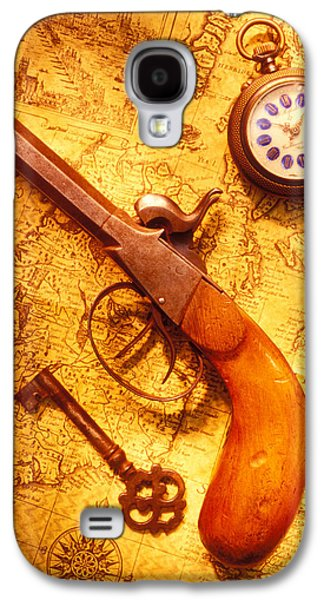 Compass Galaxy S4 Cases - Old gun on old map Galaxy S4 Case by Garry Gay