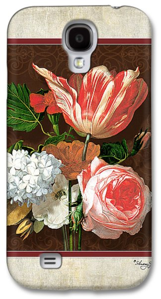Old Mixed Media Galaxy S4 Cases - Old masters Reimagined - Parrot Tulip Galaxy S4 Case by Audrey Jeanne Roberts