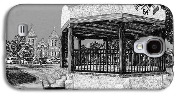 Pen And Ink Framed Prints Galaxy S4 Cases - Old Mesilla Plaza and Gazebo Galaxy S4 Case by Jack Pumphrey
