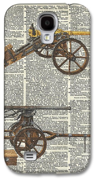 Colum Galaxy S4 Cases - Old military cannons over dictionary book page Galaxy S4 Case by Jacob Kuch