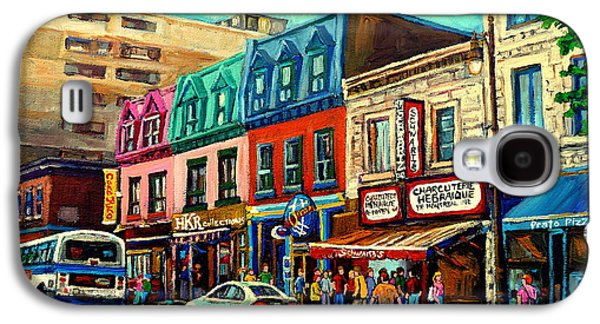 Quebec Streets Paintings Galaxy S4 Cases - Old Montreal Schwartzs Deli Plateau Montreal City Scenes Galaxy S4 Case by Carole Spandau
