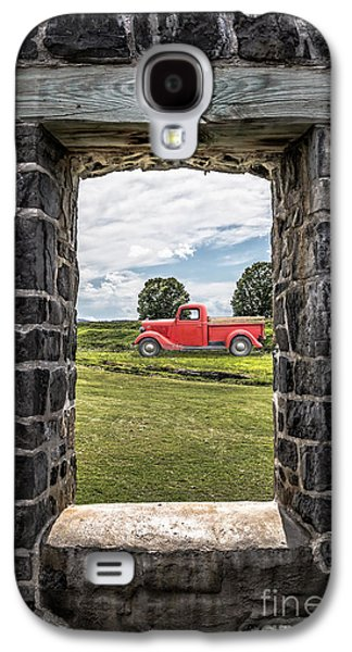 Stone Digital Galaxy S4 Cases - Old Red Pickup Truck Galaxy S4 Case by Edward Fielding