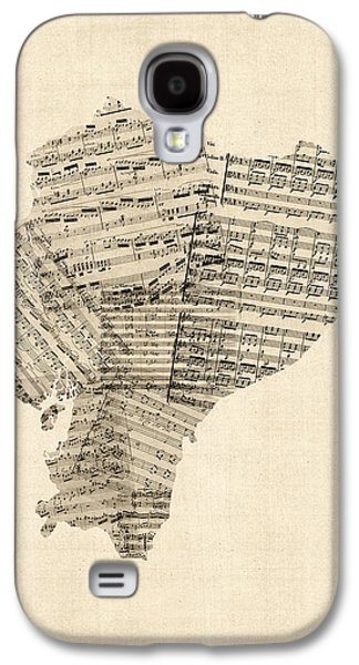 Old Sheet Music Map Of Ecuador Map Galaxy S4 Case by Michael Tompsett