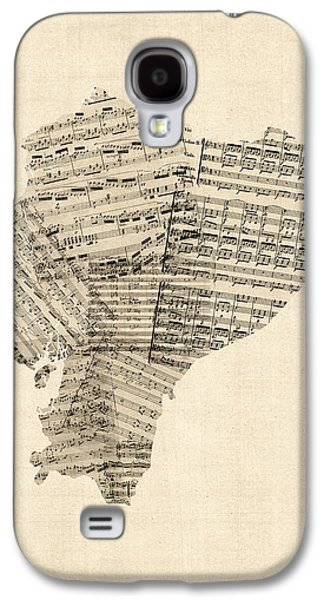 Old Sheet Music Galaxy S4 Cases - Old Sheet Music Map of Ecuador Map Galaxy S4 Case by Michael Tompsett