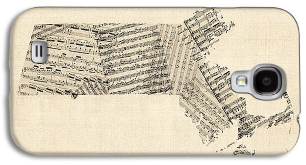 Old Sheet Music Map Of Massachusetts Galaxy S4 Case by Michael Tompsett