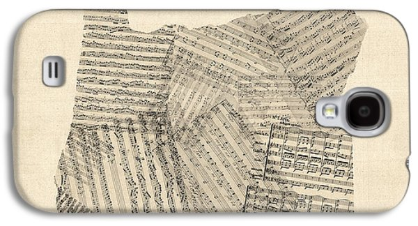 Old Sheet Music Map Of Oregon Galaxy S4 Case by Michael Tompsett