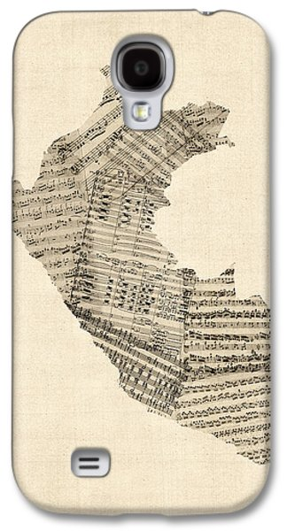 Old Sheet Music Map Of Peru Map Galaxy S4 Case by Michael Tompsett