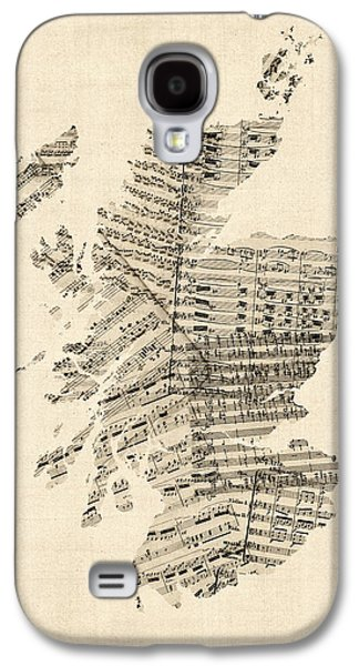 Old Sheet Music Map Of Scotland Galaxy S4 Case by Michael Tompsett