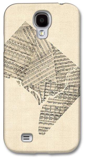 Old Sheet Music Map Of Washington Dc Galaxy S4 Case by Michael Tompsett