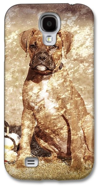 Puppy Digital Art Galaxy S4 Cases - Old Time Boxer Portrait Galaxy S4 Case by Angie Tirado