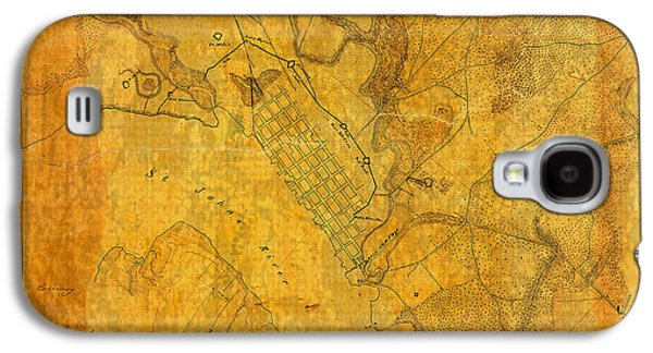 Old Mixed Media Galaxy S4 Cases - Old Vintage Map of Jacksonville Florida Circa 1864 Civil War on Worn Distressed Parchment Galaxy S4 Case by Design Turnpike