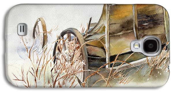 New England Snow Scene Paintings Galaxy S4 Cases - Old Wagon Abandoned in the Snow Galaxy S4 Case by Maureen Moore
