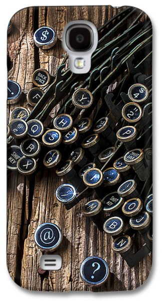 Typewriter Keys Photographs Galaxy S4 Cases - Old worn typewriter keys Galaxy S4 Case by Garry Gay