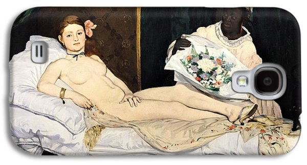 Prostitutes Paintings Galaxy S4 Cases - Olympia Galaxy S4 Case by Edouard Manet