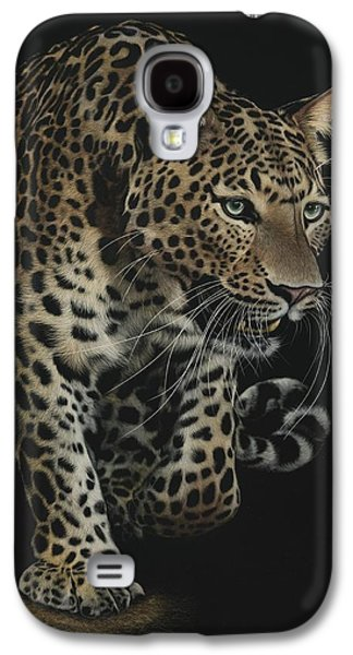 Cheetah Drawings Galaxy S4 Cases - On The Prowl Galaxy S4 Case by Shone Chacko