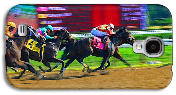 Sports Photographs Galaxy S4 Cases - On The Rail At Saratoga Galaxy S4 Case by Cyril Furlan