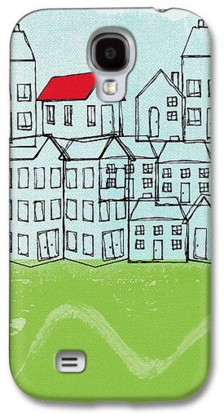Abstract Landscape Galaxy S4 Cases - One Red Roof Galaxy S4 Case by Linda Woods