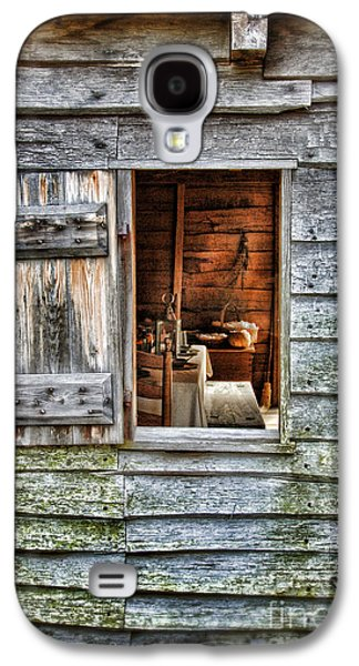 Log Cabin Interiors Galaxy S4 Cases - Open Window in Pioneer Home Galaxy S4 Case by Jill Battaglia
