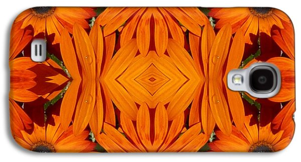 Modern Abstract Galaxy S4 Cases - Orange Burst - Fractal Galaxy S4 Case by Nancy Pauling