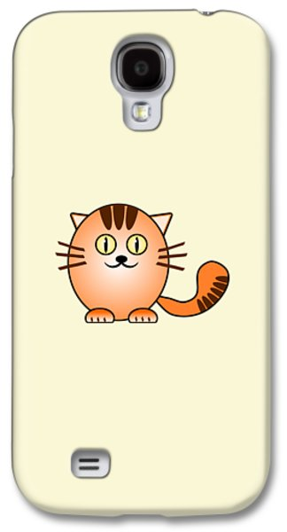 Girl Galaxy S4 Cases - Orange Cat - Animals - Art for Kids Galaxy S4 Case by Anastasiya Malakhova
