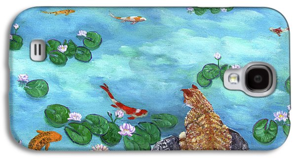 Orange Tabby Paintings Galaxy S4 Cases - Orange Cat at Koi Pond Galaxy S4 Case by Laura Iverson