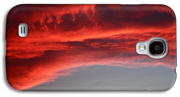 Sunset Abstract Galaxy S4 Cases - Orange clouds Galaxy S4 Case by Deborah Benbrook