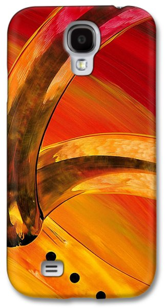 Abstract Art Canvas Paintings Galaxy S4 Cases - Orange Expressions Galaxy S4 Case by Sharon Cummings