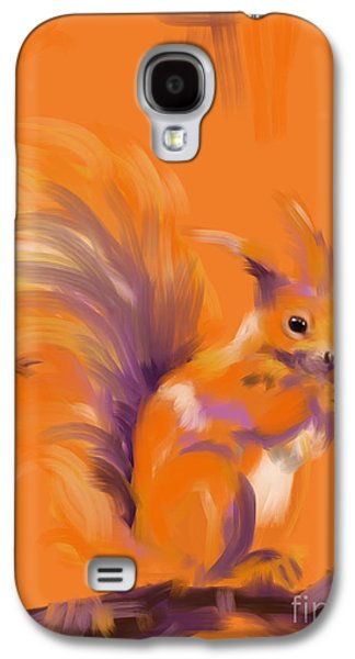 Recently Sold -  - Abstract Digital Paintings Galaxy S4 Cases - Orange Forest Squirrel Galaxy S4 Case by Go Van Kampen
