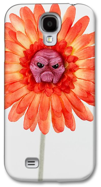 Floral Sculptures Galaxy S4 Cases - Orange grumpy flower Galaxy S4 Case by Michael Palmer