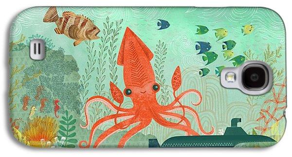 Aquatic Galaxy S4 Cases - Orange Octopus Underwater With Submarine Galaxy S4 Case by Gillham Studios