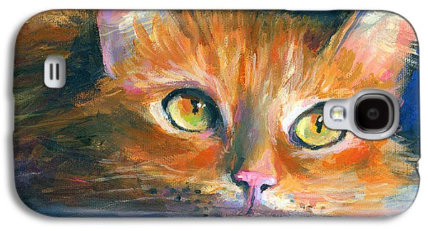 Orange Tubby Cat Painting Galaxy S4 Case by Svetlana Novikova