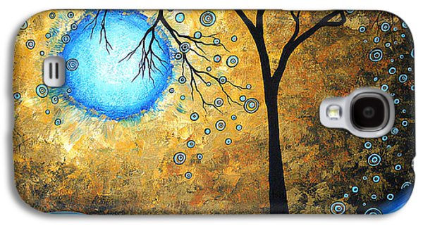 Sunset Abstract Galaxy S4 Cases - Orginal Abstract Landscape Painting BLUE FIRE by MADART Galaxy S4 Case by Megan Duncanson