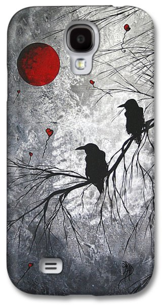 Crows Paintings Galaxy S4 Cases - Original Abstract Surreal Raven Red Blood Moon Painting The Overseers by MADART Galaxy S4 Case by Megan Duncanson