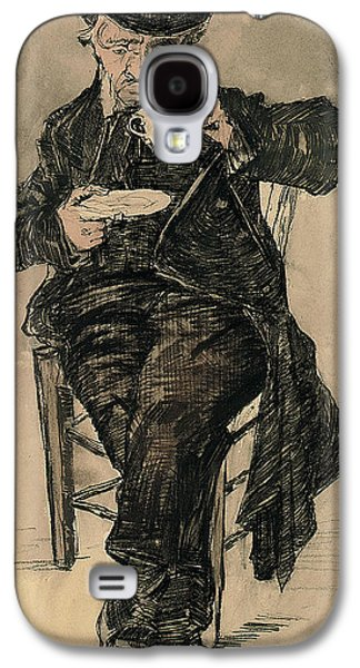Food And Beverage Pastels Galaxy S4 Cases - Orphan Man with a Top Hat Drinking a Cup of Coffee Galaxy S4 Case by Vincent Van Gogh