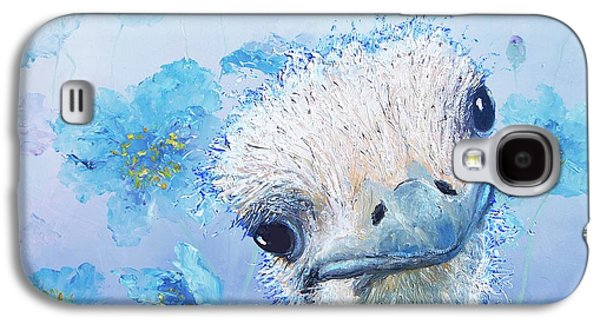 Ostrich In A Field Of Poppies Galaxy S4 Case by Jan Matson