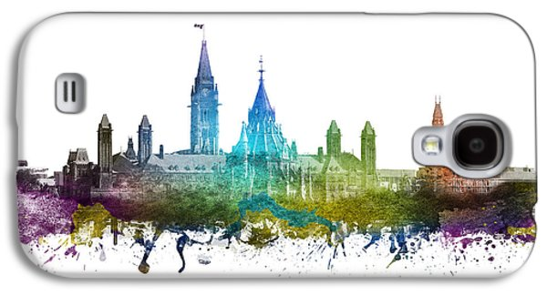 Skylines Drawings Galaxy S4 Cases - Ottawa Capital Hill Skyline 01 Galaxy S4 Case by Aged Pixel