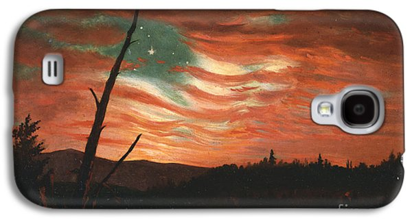 Flag Paintings Galaxy S4 Cases - Our Banner in the Sky Galaxy S4 Case by Frederic Edwin Church