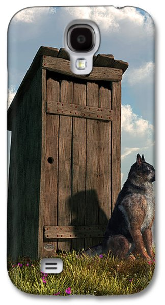Guard Dog Galaxy S4 Cases - Outhouse Guardian - German Shepherd Version Galaxy S4 Case by Daniel Eskridge