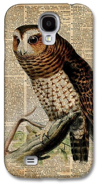 Owl Vintage Illustration Over Old Encyclopedia Page Galaxy S4 Case by Jacob Kuch