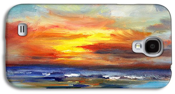 Sunset Abstract Galaxy S4 Cases - Pacific Sunset Glow Galaxy S4 Case by Nancy Merkle