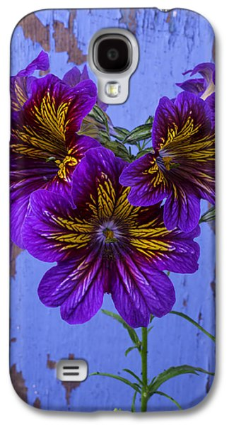 Painted Details Galaxy S4 Cases - Painted Tongue Against Blue Wall Galaxy S4 Case by Garry Gay