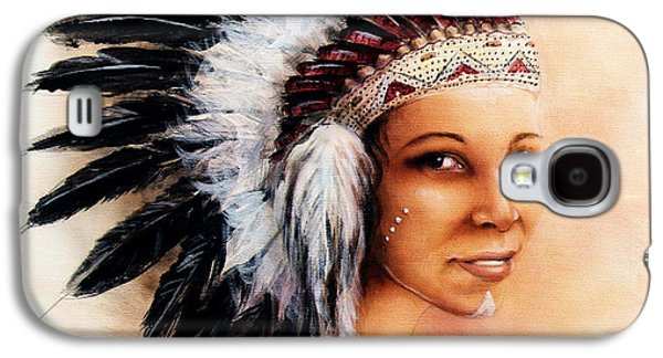 Native American Spirit Portrait Paintings Galaxy S4 Cases - Painting Of A Young Indian Woman Weaillustration Painting Young Indian Woman Wearing A Gorgeous Feat Galaxy S4 Case by Jozef Klopacka