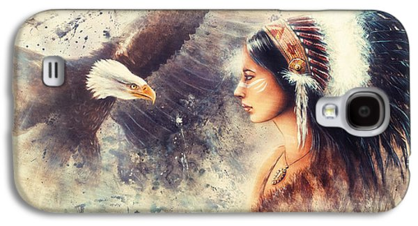 Native American Spirit Portrait Paintings Galaxy S4 Cases - Painting Of A Young Indian Woman Wearing A Gorgeous Feather Headdress. With An Image  Eagle Spirits  Galaxy S4 Case by Jozef Klopacka
