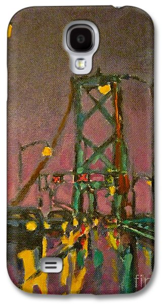 Suspension Drawings Galaxy S4 Cases - Painting of Traffic on Wet Bridge Deck at Night Galaxy S4 Case by John Malone