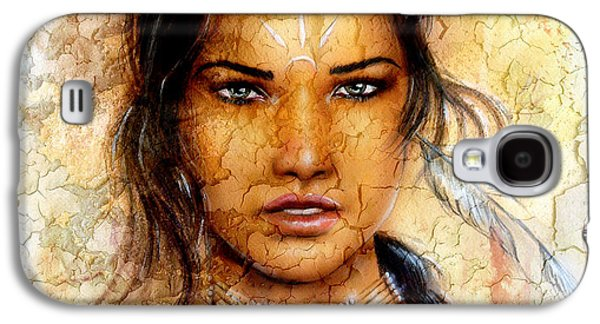 Native American Spirit Portrait Digital Galaxy S4 Cases - Painting Young Indian Woman Wearing A Feather Eye Cont Crackle Background. Galaxy S4 Case by Jozef Klopacka