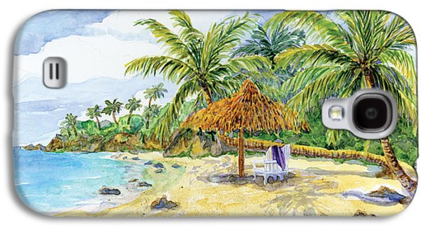 Beach Towel Galaxy S4 Cases - Palappa n Adirondack Chairs on a Caribbean Beach Galaxy S4 Case by Audrey Jeanne Roberts